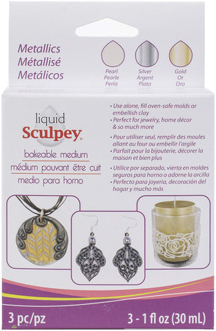 Polyform ALSMET1 Sculpey Liquid Polymer Clay - Basics 3/Pkg Pearl Silver Gold, Multicolor