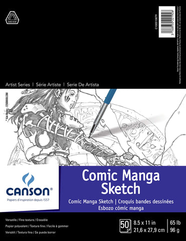 Canson Comic Manga Paper Sketch Pad with Preprinted, Non-Reproducible, Blue Lines, 65 Pound, 8.5 x 11 Inch, 50 Sheets