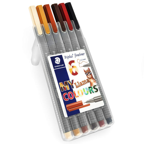 Staedtler Triplus Fineliner Pens - 0.3mm - Dry Safe - Llama Colours - Wallet of 6