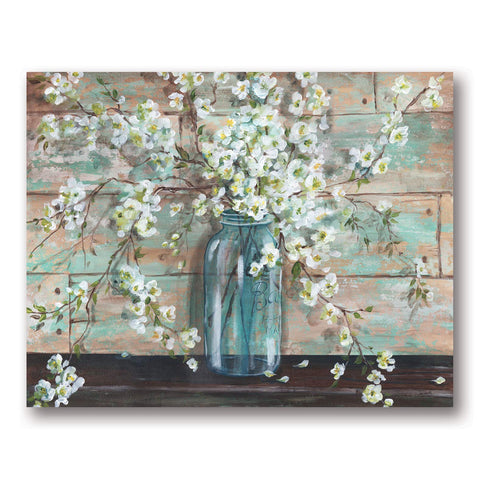 Gango Home Decor Beautiful Watercolor-Style Blossoms in A Mason Jar Floral Print by TRE Sorelle Studios; One 20x16in Fine Art Giclee Print