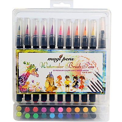 Watercolor Brush pens Set 20 Paint Markers Flexible tip, Nontoxic-Durable-Portable-Develop-Creative Colorful Education Drawing Painting Craft Coloring Calligraphy for Children & Adults by MagiPens