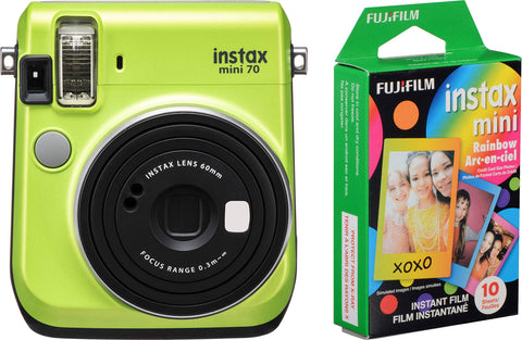 Fujifilm Instax Mini 70 - Instant Film Camera (Kiwi Green) and Instax Mini Rainbow Film Value Pack - 10 Images