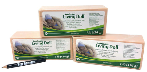 Super Sculpey Living Doll Oven-Bake Clay - Baby Skin Tone Clay - Pack of 3 (1 Pound) with Tru Inertia Pencil