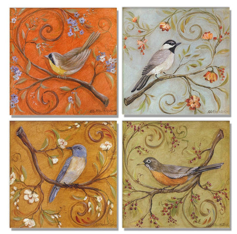 SmartWallArt - 4 Panel Large Size Similar Wall Art - Colorful Birds on Curly Branches Quadrate Painting - 4 Panels Similar Picture Print on Canvas for Living Room Decor Or as A Gift