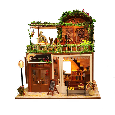 Flever Dollhouse Miniature DIY House Kit Creative Room with Furniture for Romantic Valentine's Gift(Raya's Rock Time)