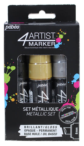 Pebeo 4Artist Marker, Oil Paint Markers, Metallic Set of 3 x 8 mm