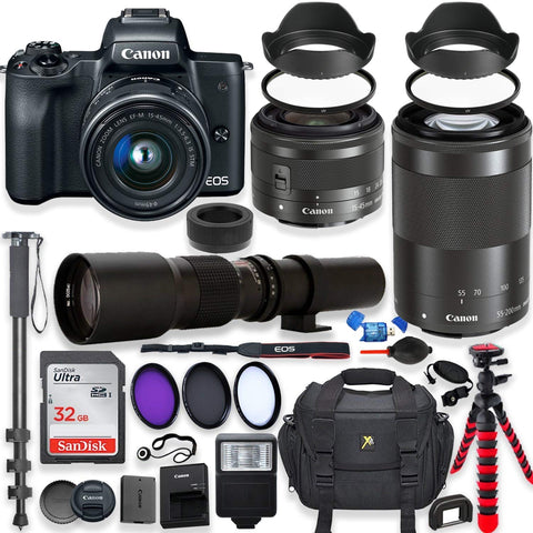 Canon EOS M50 Mirrorless Digital Camera with 15-45mm Lens Bundle + Canon EF-M 55-200mm f/4.5-6.3 is STM Lens & 500mm Preset Lens + 32GB Memory + Filters + Monopod + Professional Bundle