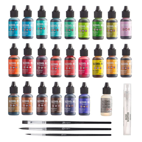 Ranger Tim Holtz Alcohol Ink Set, 24 Pack (Assorted Colors) .5oz | Alcohol Ink Blending Solution | Premium Brush Set for Alcohol Ink Paper | 1 Mini Spray Bottle