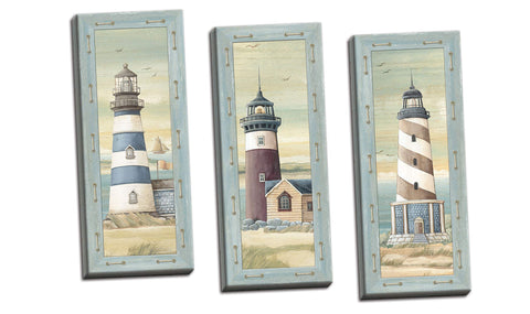 wallsthatspeak Set of 3 Lighthouse Art Prints Beach Country Coastal Decor (8x20 Stretched Canvas 3-Pack)
