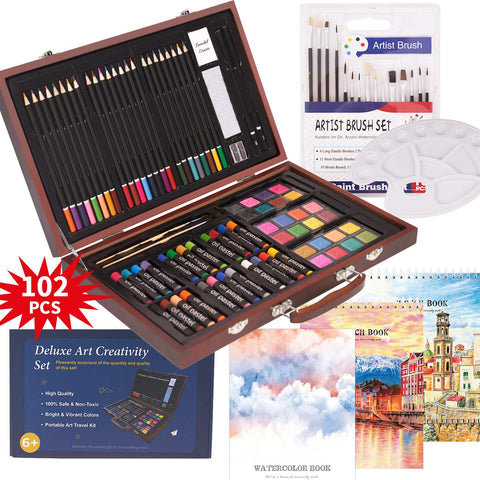 102 Piece Deluxe Art Creativity Set- 2 x 50 Page Sketch Book, 1 x 24 Page Watercolor Pad, Art Supplies in Portable Wooden Case- Oil Pastels, Colored Pencils, Watercolor Cakes, Sharpener-Deluxe Art Set