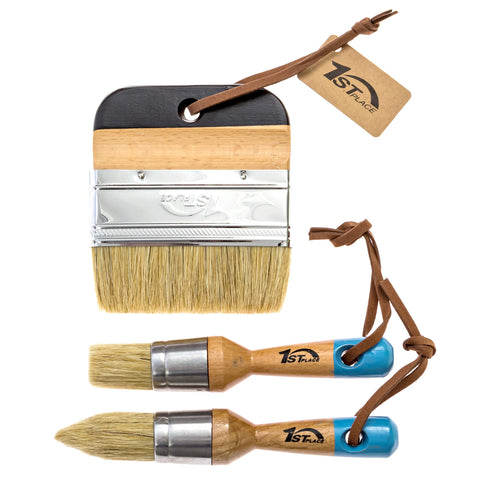 "1st Place Ultra Chalk & Wax Natural Bristle Brush Set - 2 Piece Brush Set & 4"" Flat Brush - (3 Brushes)"