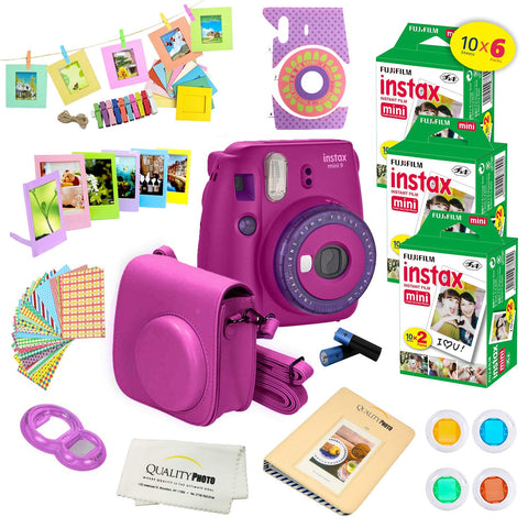 Fujifilm Instax Mini 9 Instant Camera w/Fujifilm Instax Mini 9 Instant Films (60 Pack) +A14 Pc Deluxe Bundle for Fujifilm Instax Mini 9 Camera (Purple)