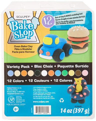 Polyform Sculpey Bake Shop Clay Variety Pack, 14-Ounce (392090)