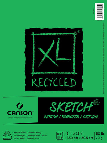 "Canson 100510921  XL Recycled Sketch Pad, 9""X12"" Fold Over Bound"