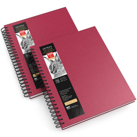 Arteza Sketch Book, 9x12-inch, 2-Pack, Pink Drawing Pads, 200 Sheets Total, 68 lb 100 GSM, Hardcover Sketchbook, Spiral-Bound, Use with Pencils, Charcoal, Pens, Crayons & Other Dry Media
