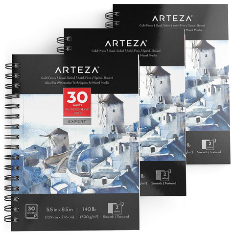 ARTEZA Watercolor Pad Expert, Acid Free Cold Pressed Paper, 5.5 x 8.5 Inches, Spiral Bound, 140lb/300gsm, 30 Sheets, Pack of 3