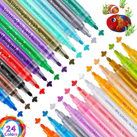 Acrylic Pens Marker Pens, 24 Colors Waterproof Suitable for Wood, Stones,Tire,Shoes,Canvas, Metal, Plastic, Ceramics, Stained Glass, Fabric Painting, Rock Painting DIY (24 Color)