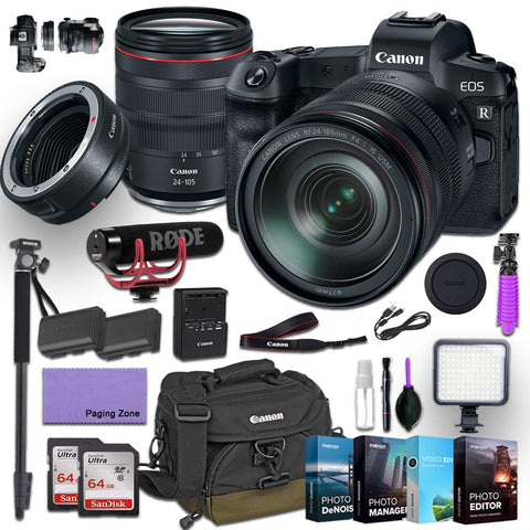 Canon EOS R Mirrorless Digital Camera with 24-105mm f/4L is USM Lens and Canon Mount Adapter EF-EOS R kit Bundled with Deluxe Accessories (Rode Microphone, 4-Pack Photo Editing Software and More.)