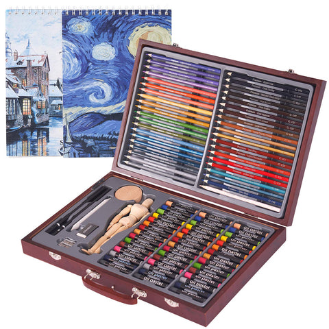 COOL BANK 93 Piece Deluxe Art Creativity Set with 2 x 50 Page Drawing Pad, Art Supplies in Portable Wooden Case-Painting & Drawing Set for Kids, Teens and Adults