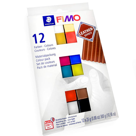 Staedtler FIMO Leather Effect Modelling Moulding Oven Bake Clay - 12 x 25g Blocks - Assorted Colours