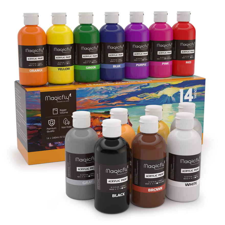Magicfly Bulk Acrylic Paint, 14 Rich Pigments Colors (240 ml/8.12 fl oz.), Non-Fading, Non-Toxic Craft Paints for Painting on Canvas, Ideal for Kids, Artist & Hobby Painters