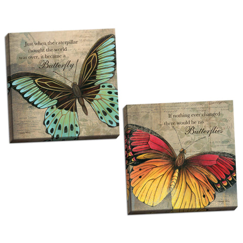 "Inspirational Butterfly ""If Nothing Ever Changed There Would Be No Butterflies"" and ""Just When The Caterpillar Thought The World Was Over, It Became A Butterfly""; Two 12x12in Hand-Stretched Canvases"