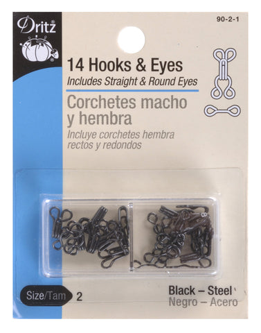 Dritz 90-2-1 Hook & Eye Closures, Size 2, Black 14-Count