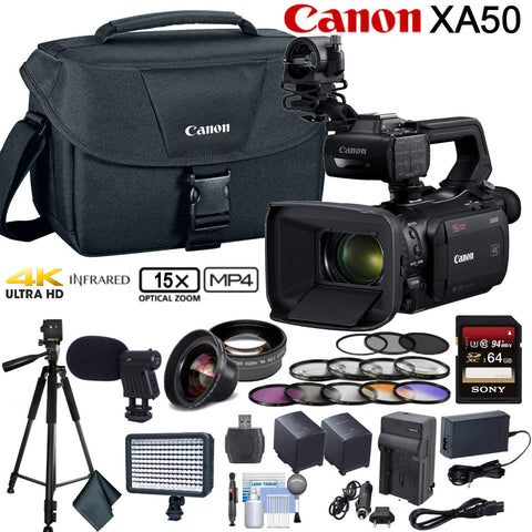 Canon XA50 Professional UHD 4K Camcorder Advanced Bundle