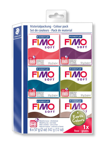 STAEDTLER Fimo Soft 8023 27 Modelling Clay 6 Regular Pads Earth Color