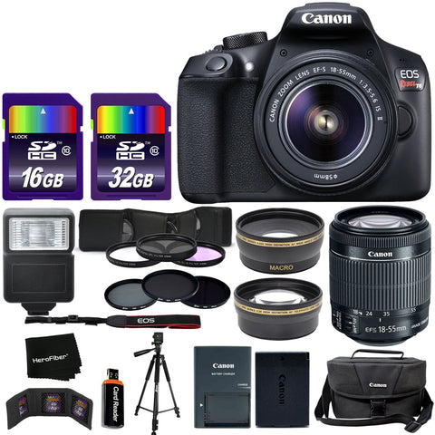 Canon EOS Rebel T6 DSLR Camera + EF-S 18-55mm is II Lens + Bundled with 58mm Telephoto & Wide Lenses + Case + Flash + ND & UV Filter Set + 48GB SD Memory + Tripod + Full Accessory Kit w/HeroFiber