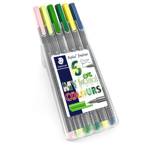 Staedtler Triplus Fineliner Pens - 0.3mm - Dry Safe - Botanical Colours - Wallet of 6