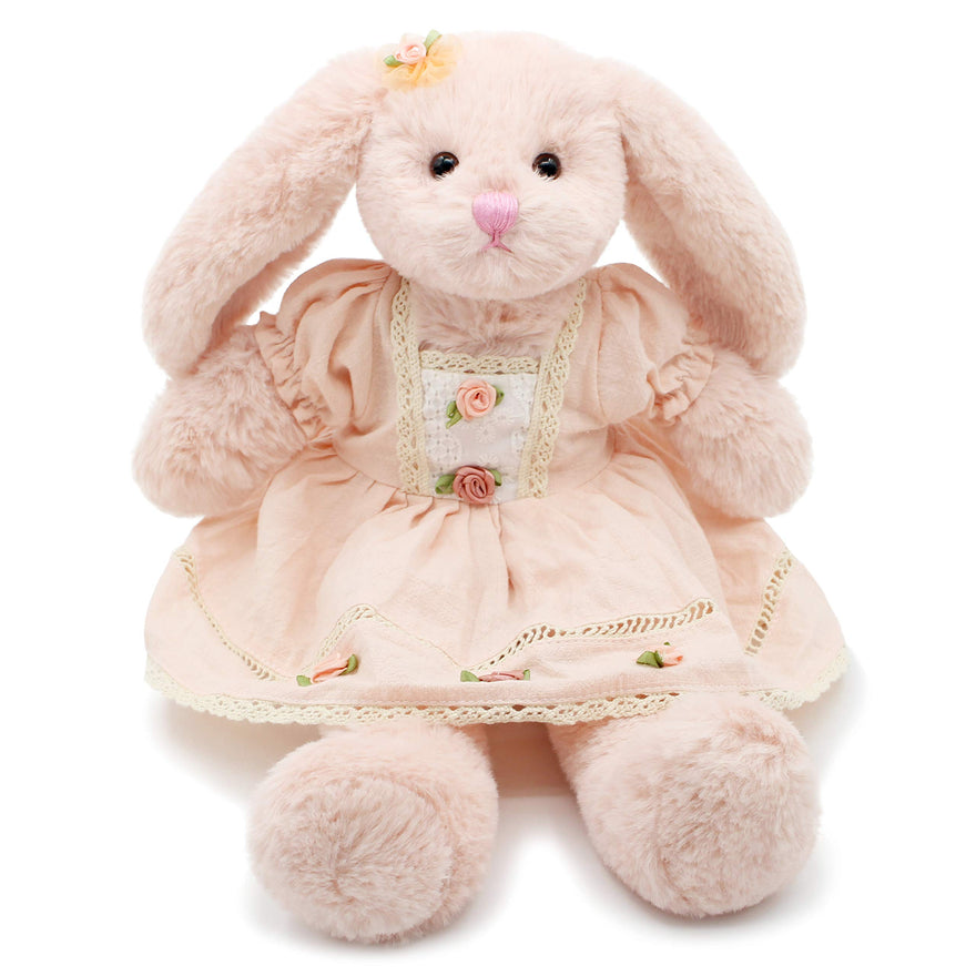 Oitscute Small Soft Stuffed Animal Bunny Rabbit Plush Toy for Baby Girls 15inch (Pink Rabbit Wearing Pink Vintage Dress)