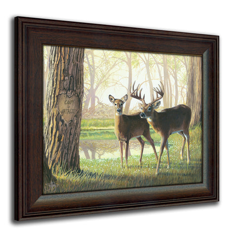 Whitetail Spring - Personalized Romantic Wildlife and Animal Framed Prints for Anniversaries, Weddings, Valentine's, and Christmas!
