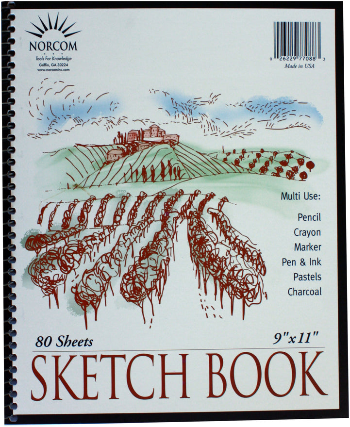 Norcom Wirebound Sketchbook, 11 x 9 Inches, 80 Sheets, White (77088-12)