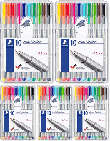 Staedtler Triplus Fineliner 0.3 mm Porous Point Pen 334 - SB10, 2 Pack of 13