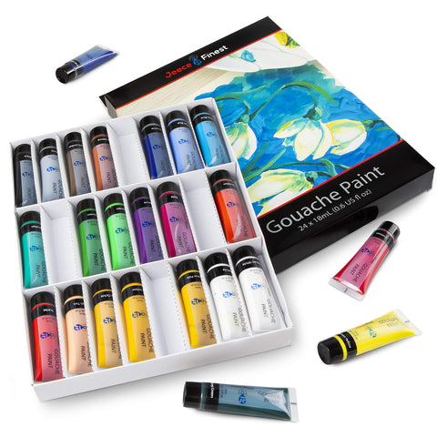 Gouache Paint Set - 24x18mL Non-toxic Professional Quality Paint Set for Student, Professional, Beginner or Hobby Painters - opaque vivid colors which dry to a matt, easy to cleanup, fast-drying, safe