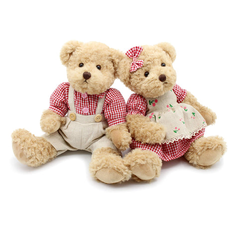Oitscute 2-Pack Teddy Bear,Cute Stuffed Animal,Couple Gift Soft Plush Toy 11inch (Red Plaid Clothes)