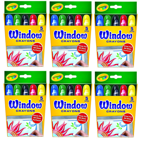Crayola Washable Window Crayons - 5-Count, 6 Pack