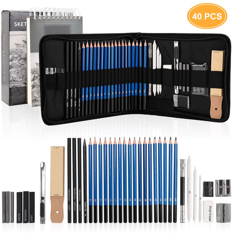 Drawing Pencils Sketch Art Set-40PCS Drawing and sketch set Includes 18 Sketching graphite Pencils,graphite and charcoal pencils,100pages sketch book and Accessories for Kids Teens Adults