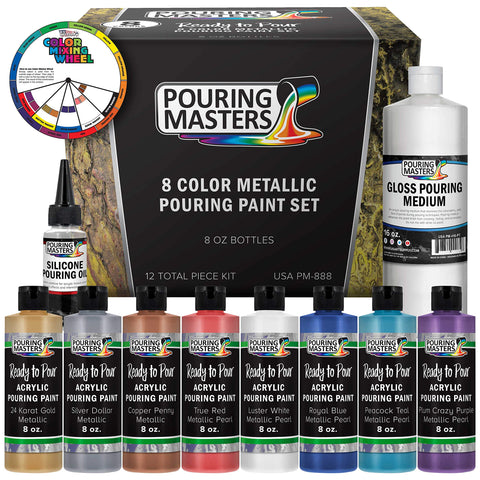 Pouring Masters 8-Color Metallic Ready to Pour Acrylic Metallic Pouring Paint Set - Premium Pre-Mixed High Flow 8-Ounce Bottles - for Canvas, Wood, Paper, Crafts, Tile, Rocks and More