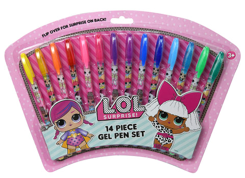 L.O.L Surprise Dolls Gel Pens on Card, Assorted Colors Glitter Pen Writing Tool Collectible, Stocking Stuffers, Party Favors, Goodie Items & Gift for Kids, Girls School & Office Supplies (14 Pcs Set)