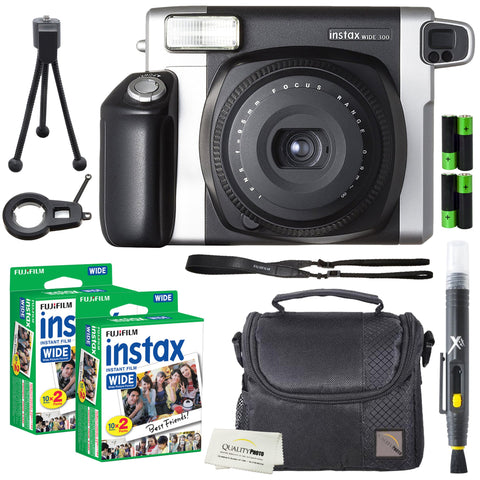 Fujifilm Instax Wide 300 Instant Film Camera + instax Wide Instant Film, 40 Sheets + Extra Accessories