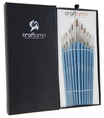 Craftamo Fine Detail Paint Brush Set for Models, Miniatures, Lettering and Face Painting - 11 Small Fine Liner Brushes for Nail Art, Acrylic and Watercolor Artists - with Gift Box