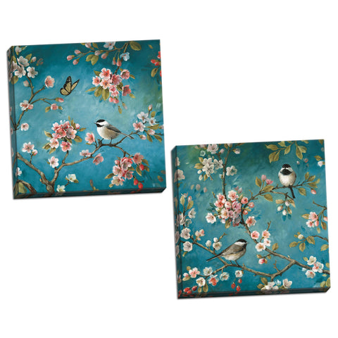Gango Home Décor Beautiful Turquoise Cherry Blossom, Bird and Butterfly Print Set by Lisa Audit; Two 16x16in Hand-Stretched Canvases