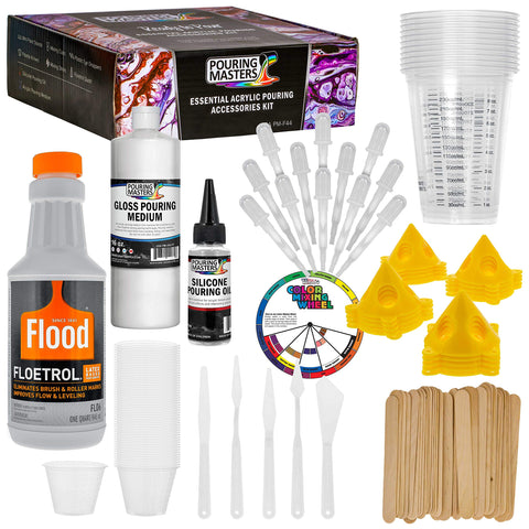 U.S. Art Supply - 1 Quart Floetrol Additive Pouring Supply Paint Medium Deluxe Kit for Mixing, Epoxy, Resin - Silicone Oil,1 and 10 Ounce Plastic Cups, Mini Painting Stands, Sticks, Pallete Knifes
