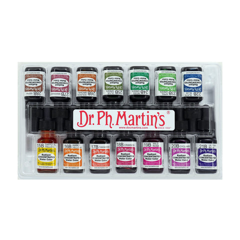 Dr. Ph. Martin's Radiant Concentrated Water Color, 0.5 oz, Set of 14 (Set B)