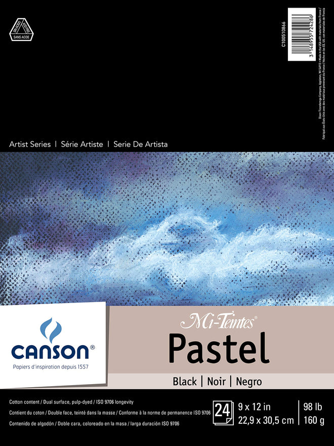 Canson Mi-Teintes Pastel Paper Pad, Dual Sided Textures for Pastels, Charcoals, Pencil, Fold Over, 98 Pound, 9 x 12 Inch, Black, 24 Sheets