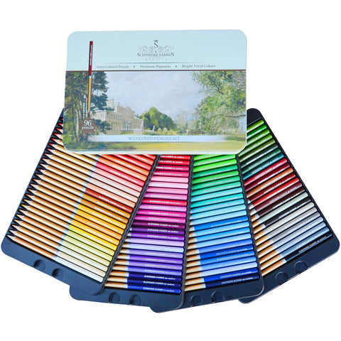 96 Colored Pencils Set Professional Premium Named & Numbered SCHPIRERR FARBEN, Oil Based Soft Core, Ideal For Adults, Artists, Sketchers & Children - Coloring Sketching & Doodling