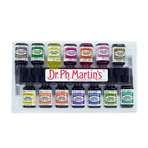 Dr. Ph. Martin's Radiant Concentrated Water Color (Set C) Watercolor Set, 0.5 oz, Set C Colors, 1 Set of 12 Bottles