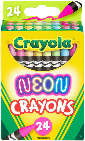 Crayola Neon Crayons, Back to School Supplies, 24Count